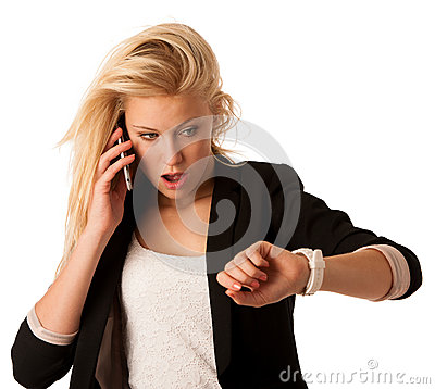 Free Young Blonde Woman Looks At Her Watch When She Is Being Late Iso Stock Photos - 44478983
