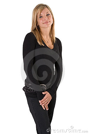 Young blonde woman portrait black outfit
