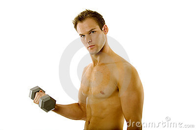 Young body builder male exercising