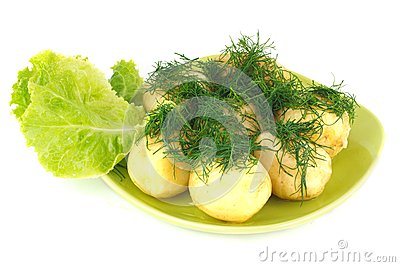 The young boiled potatoes with lettuce and dill