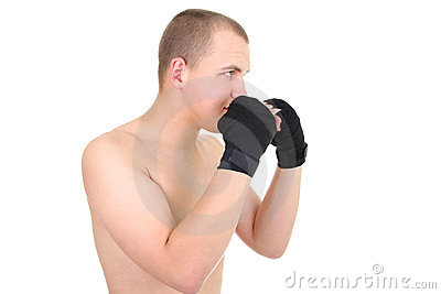 Young boxer in a defensive stance