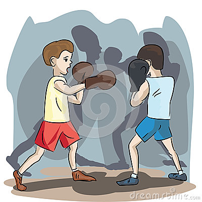 Young boxers at match