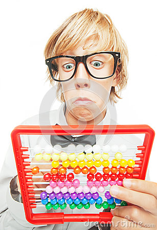 Young boy with abacus calculator