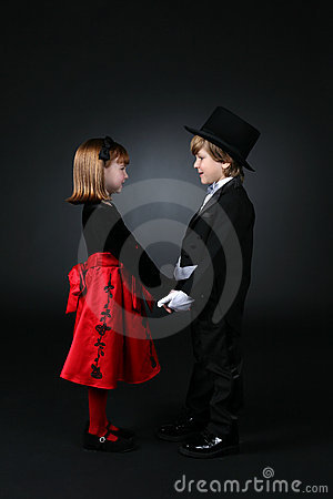 Free Young Boy And Girl In Formal Clothes Royalty Free Stock Photography - 7514637
