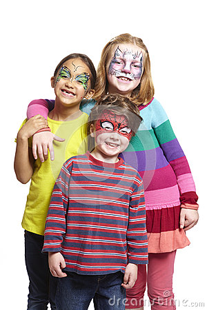 Free Young Boy And Two Girls With Face Painting Of Cat, Butterfly And Stock Photo - 28897260