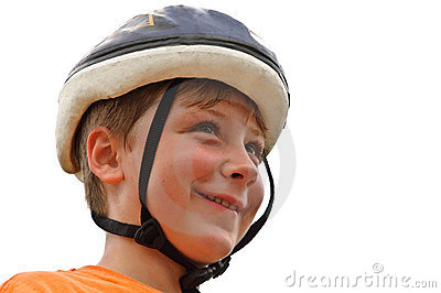 Young Boy with Bicycle Helmet
