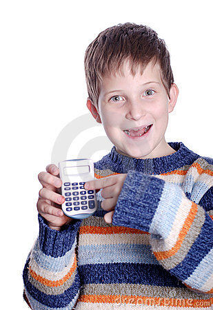 Young boy with calculator