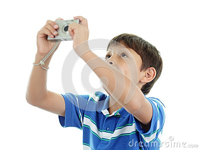 Young boy with camera