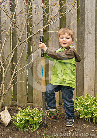 Young boy child Gardener