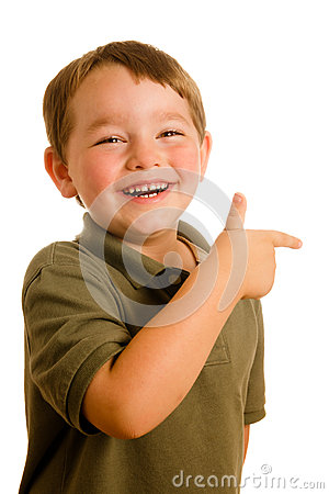 Young boy child pointing a direction