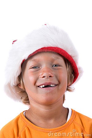 Young boy with christmas hat
