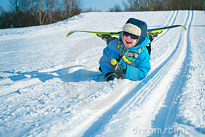 Young boy with cross-country skis