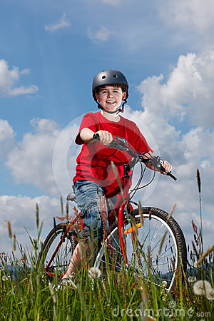 Young boy cycling