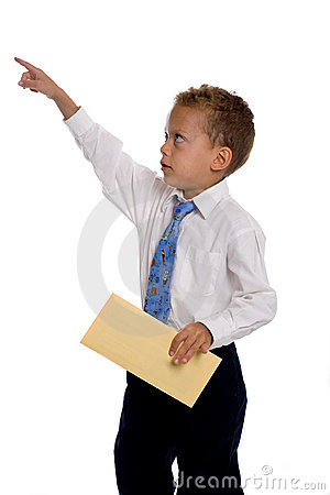 Free Young Boy Dressed As Businessman Holds Envelope Stock Photos - 5584493