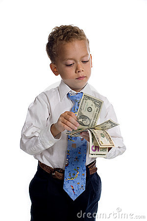 Free Young Boy Dressed As Businessman Holds Money Royalty Free Stock Images - 5505449
