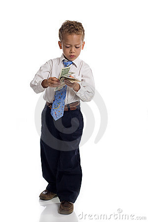 Free Young Boy Dressed As Businessman Holds Money Stock Images - 5505454