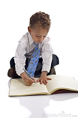 Free Young Boy Dressed As Businessman With Notepad Stock Image - 5505471