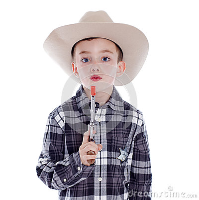 Young boy dressed as a cowboy