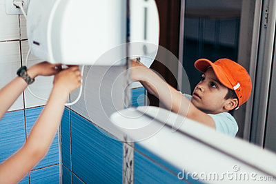 Young Boy Drying Hands Stock Photo Image 62906327