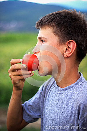 Free Young Boy Eating Fresh Tomato Royalty Free Stock Photo - 40989085