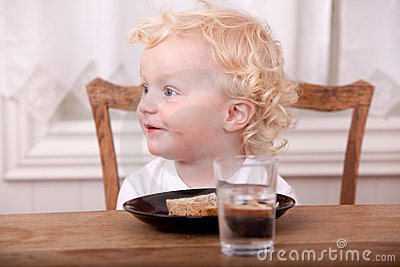 Young Boy Eating Lunch