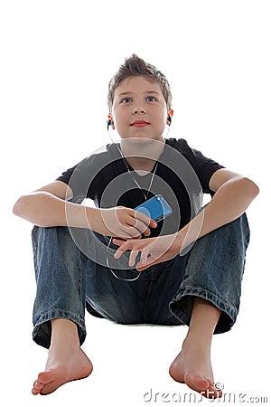 Young boy enjoying music