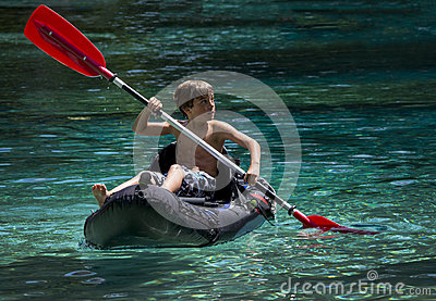 Young Boy First Time Kayaking