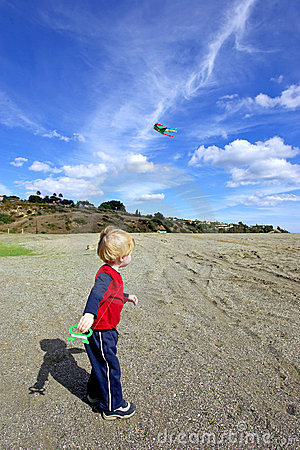 Young boy flying a kite on a sunny day