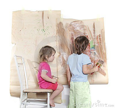 Young boy and girl painting