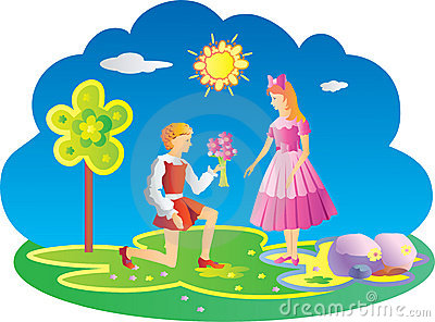 Young boy giving girl flowers.