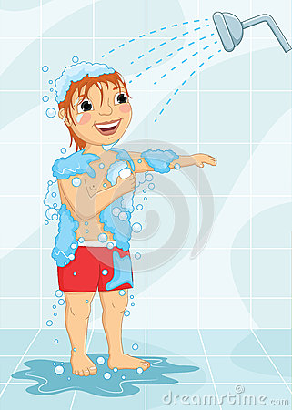 Young Boy Having Shower Vector Illustration Stock Vector Image 42786453