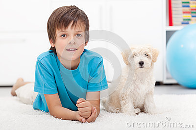 Young boy and his good behaving doggy
