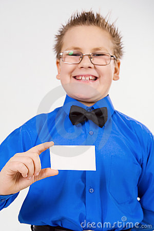 Young  boy holding an empty advertising card