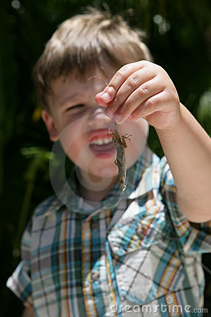 Young boy holding a lizard