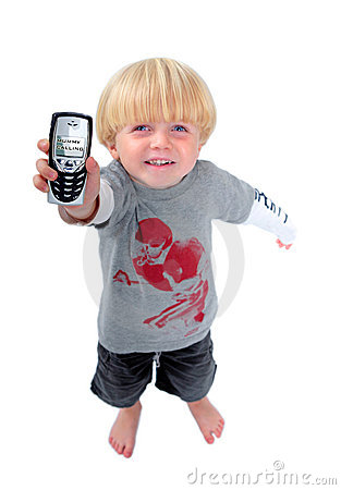 Free Young Boy Holding Mobile Phone Showing Mummy Calling Stock Images - 1438554