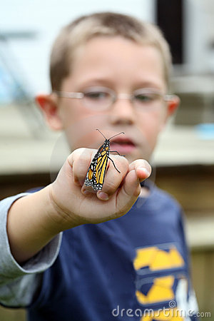 Young boy holding monarch butterfly