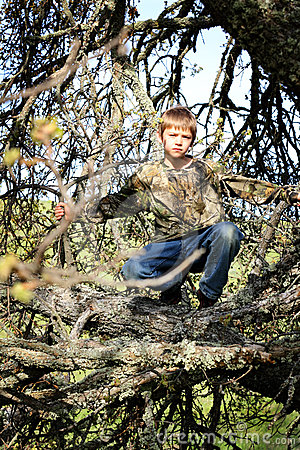 Young Boy Hunter Hiding