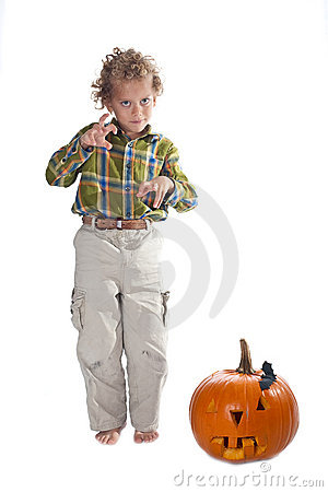 Young boy with jack-o-lantern