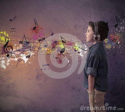 Free Young Boy Listening To Music Royalty Free Stock Photos - 28710398