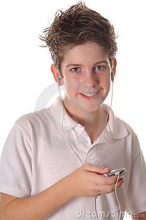 Free Young Boy Listening To Music Vertical Upclose Royalty Free Stock Photos - 3641358