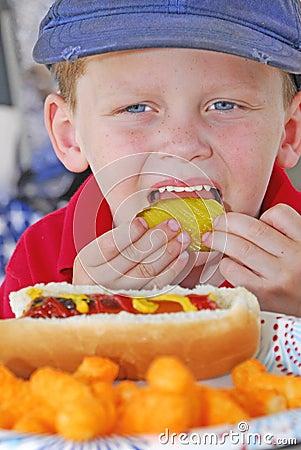 Young boy at picnic