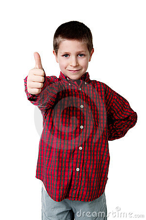 Young boy in plaid shirt giving thumbs up