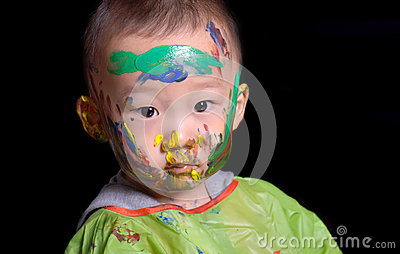 Young boy played color game