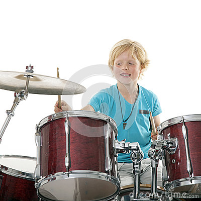 Free Young Boy Playing Drums Royalty Free Stock Images - 45921279