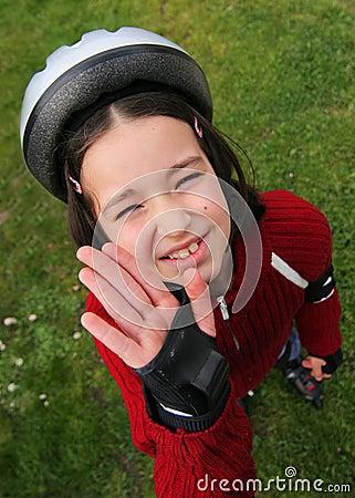 Young boy in protective helmet