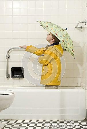 Young Boy in Rain Gear