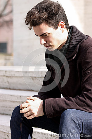 Free Young Boy, Sad Man Thinking About His Problems Royalty Free Stock Photo - 45750215