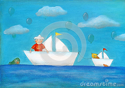 Young boy sailing, child s drawing, oil painting