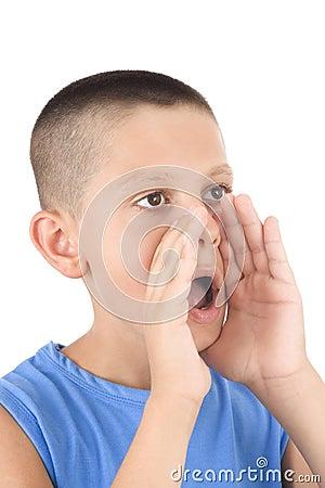 Young boy shouting