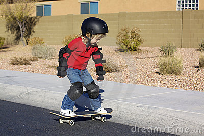 Young Boy on Skateboard